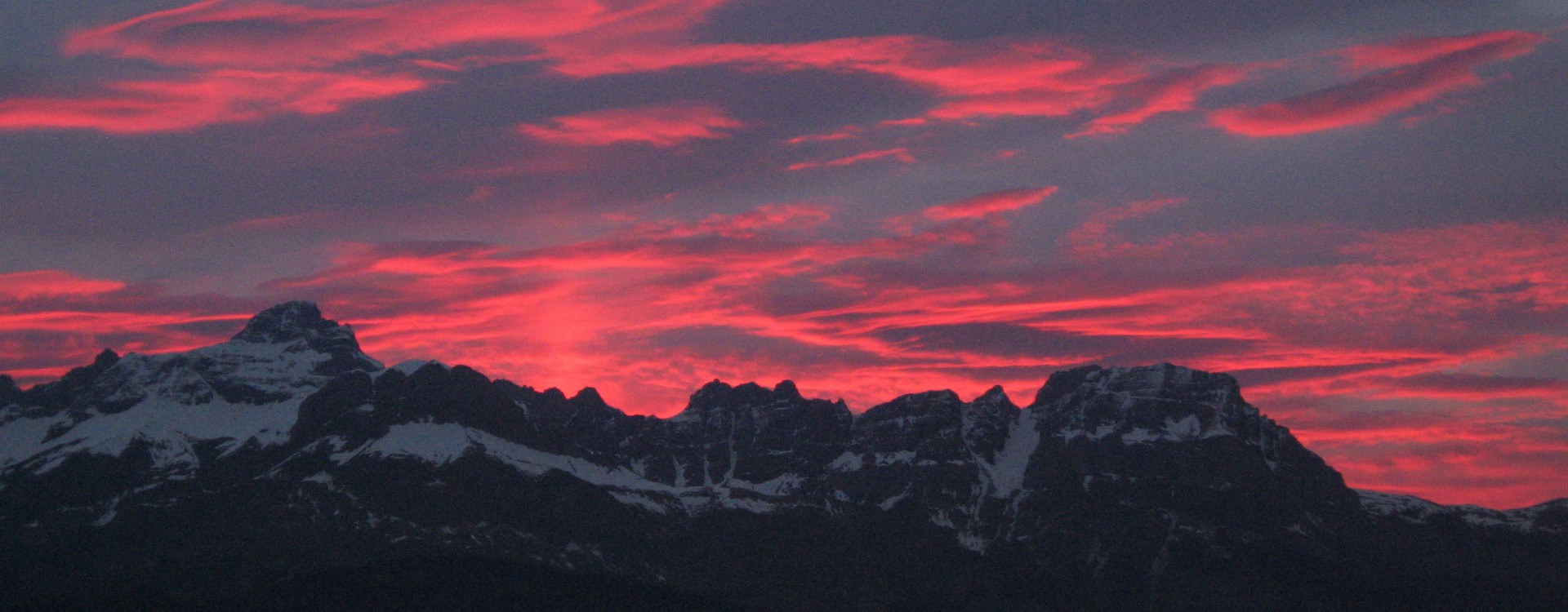 Aravis Mountain Chain at sunset